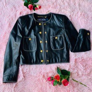 Black leather Escada size 36 Jacket 💕
